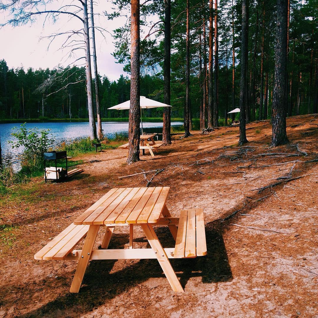 Питерская погода нас опять радует, поэтому смело можно ехать за город купаться и загорать🏻 В GREENVALD Парк Скандинавия  появились отличные пикник-столы и мангалы для отдыха большой компанией🏻 Координаты: 60.287649, 29.744828