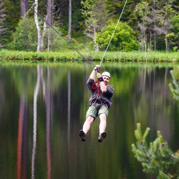 """Двойной троллей (zip-line, """"тарзанка"""") над озером 300 м  от..."""